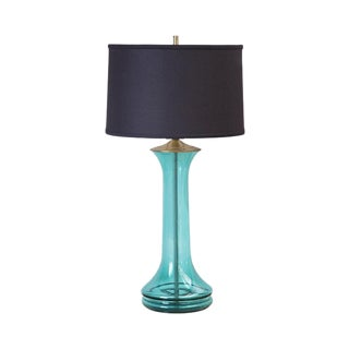 Hand Blown Blenko Glass Lamp in Teal