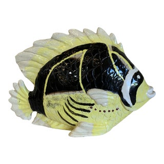 1970s Handpainted Ceramic Tropical Fish For Sale