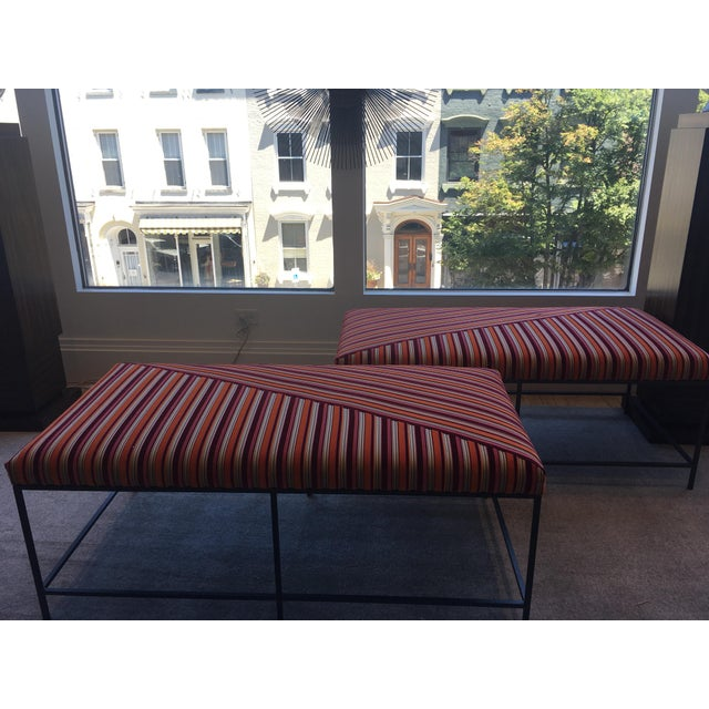 Schumacher Schumacher Striped Velvet Benches - a Pair For Sale - Image 4 of 8