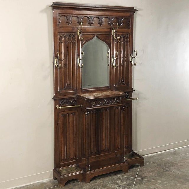 Gothic 19th Century French Walnut Gothic Hall Tree For Sale - Image 3 of 12