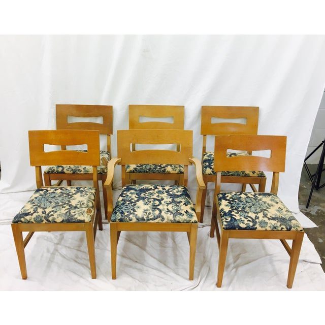 Vintage Mid-Century Modern Square Back Wooden Dining Chairs - Set of 6 For Sale - Image 9 of 9