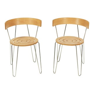 Pair of Brodrene Andersen Beech Wood Equinox Side Chairs For Sale