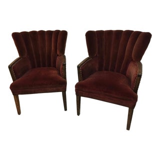 1940's Vintage Hollywood Regency Chairs- A Pair For Sale