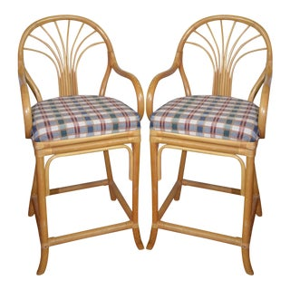 Vintage Rattan Bar Stools - Set of 2 For Sale