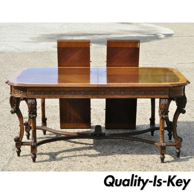 Early 20th Century French Baroque Style Banded and Inlaid Walnut Dining  Room Table