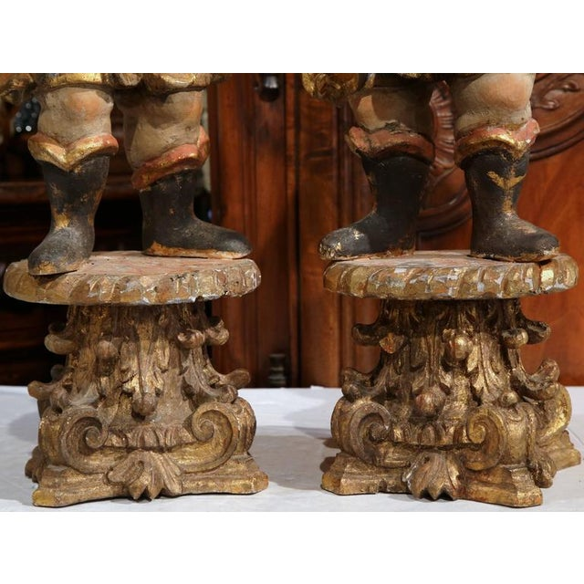 18th Century Italian Carved Polychrome Figures on Wooden Gilded Stands - a Pair For Sale - Image 4 of 6