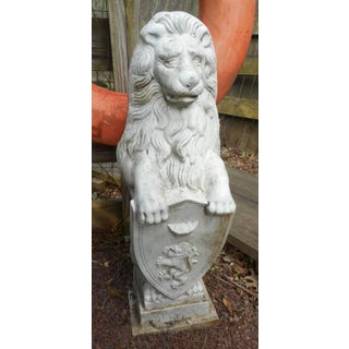 Cast Iron Lion Statues Holding a Shield - a Pair Preview