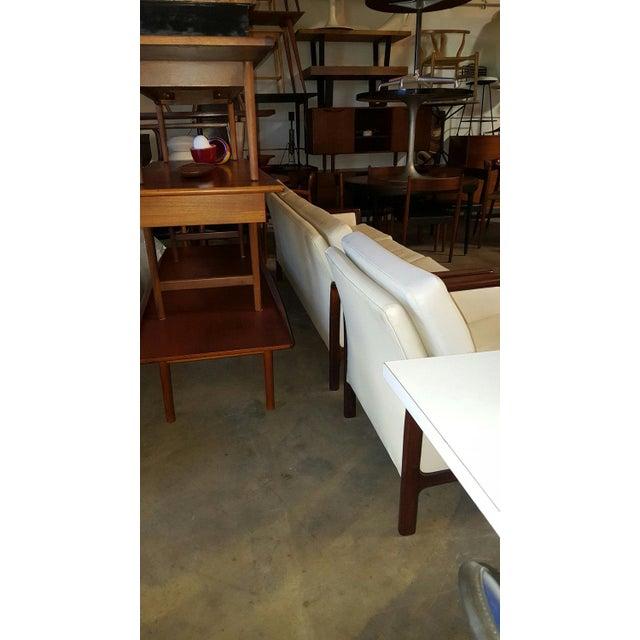 Hans Olsen Vintage Danish Modern Hans Olsen White Leather Sofa & Chair - a Pair For Sale - Image 4 of 6