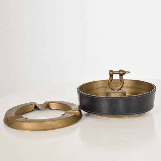 Hermes Style Brass and Leather Ashtray, Italy, 1960s For Sale - Image 4 of 8