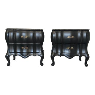 Black Satin Lacquered Vintage French Bombé Nightstands - A Pair For Sale
