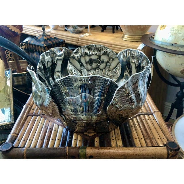 1970s Nickel-Plated Bronze Clamshell Cachepot or Wine Cooler Ice Bucket For Sale - Image 5 of 10