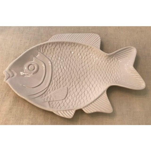 White White Ceramic Fish Platter For Sale - Image 8 of 8