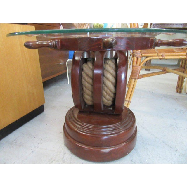 Ship Wheel & Pully Maritime Table - Image 4 of 6