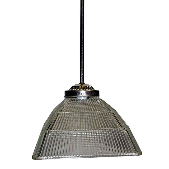 1920s Antique Square Holophane Industrial Pendant Light For Sale - Image 5 of 5