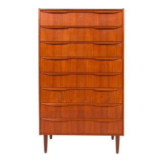 1960s Danish Mid-Century Eight Drawer Teak Tallboy Dresser For Sale
