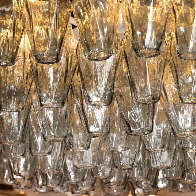 Early 20th Century Modernist Handblown Murano Polyhedral Chandelier in Smoked Pewter For Sale - Image 5 of 8