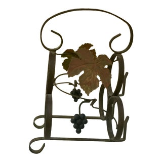 1950s Vintage French Iron Wine Bottle Rack For Sale