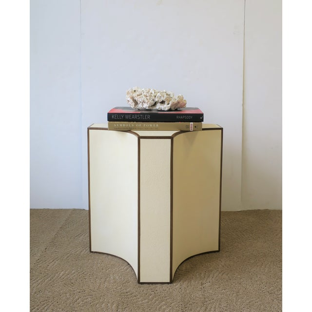 White Contemporary Shagreen Esque Side Table For Sale - Image 8 of 10