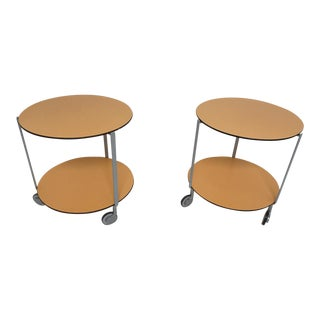 Anna Deplano for Zanotta Giro Rolling Side Tables - A Pair