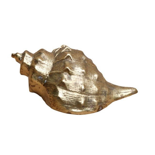Hollywood Regency Style Brass Conch Shell For Sale