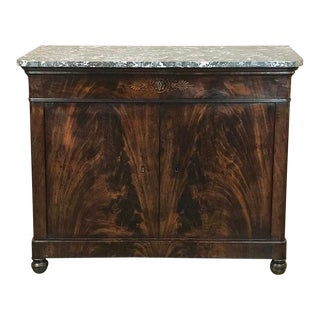 19th Century French Charles X Mahogany Marble Top Buffet For Sale