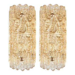 Luxe Pair of Mid-Century Modern Sconces By Carl Fagerlund for Orrefors For Sale