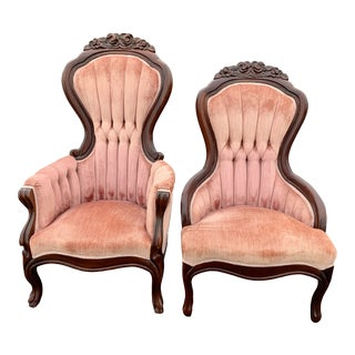 1950s Victorian Magnolia Hall Tufted Upholstered Side Chairs - a Pair For Sale