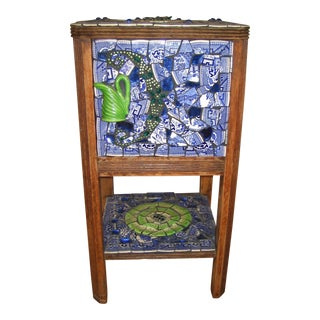 1940s Vintage Blue Willow Nightstand For Sale