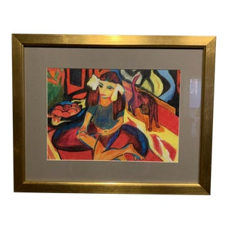 """1950s """"Ines: Portrait of a Girl and Cat"""" Expressionist Figurative Color Pencil Drawing, Framed For Sale"""