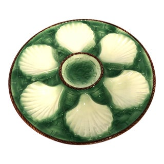 1950s Vintage Majolica Oyster Plate For Sale