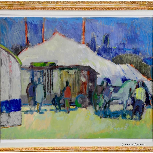 An impressionistic painting depicting horses and people in front of a circus tent. Colorful watercolor painting on...