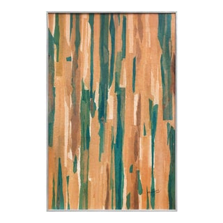 Abstract Color Field Mixed-Media in Tones of Green and Tans For Sale