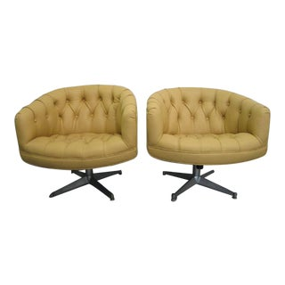 Pair of Ward Bennett Leather Swivel Lounge Chairs For Sale