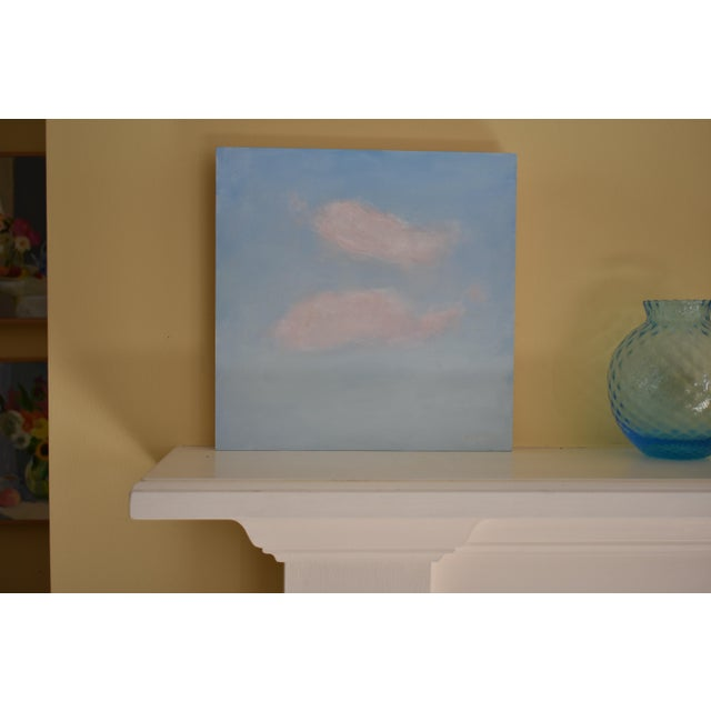 """A study of fleeting clouds. This is professional grade acrylic on a cradled 3/4"""" thick, 10"""" square wood panel. Unframed,..."""