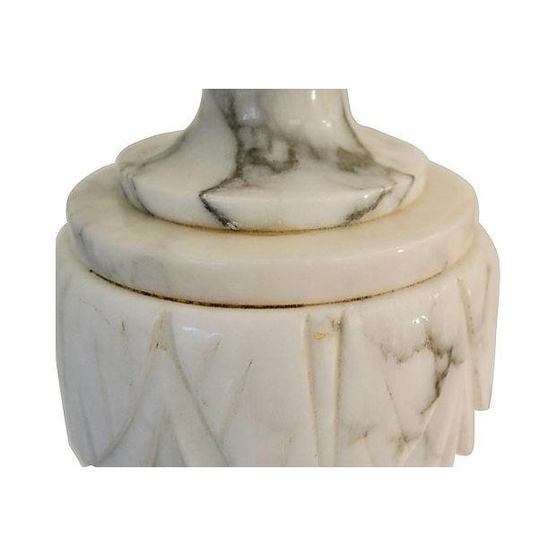 Neoclassical Carved Marble Lamps - A Pair For Sale - Image 7 of 8