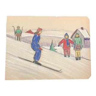 1940s Skiing Scene Evelyn Underwood Drawing For Sale