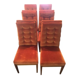 Thonet for Founders Mid Century Modern Parsons Chairs - Set of 6 For Sale