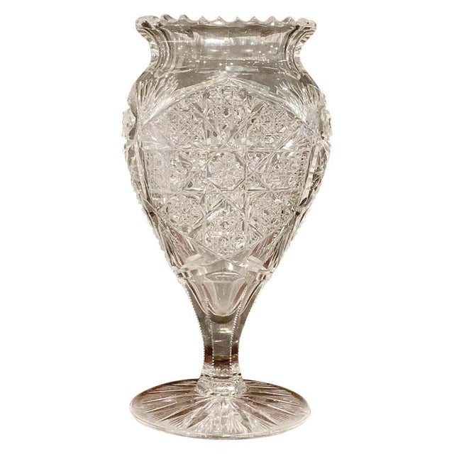 American Brilliant Cut Glass Heart Shaped Vase, Rare Form For Sale - Image 11 of 11