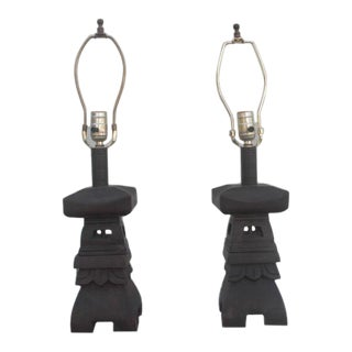 Wooden Pagoda-Shaped Lamps - a Pair For Sale
