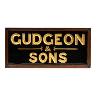 "19th Century England ""Gudgeon & Sons"" Framed Gilded Sign For Sale"