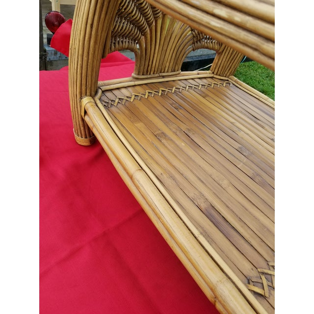 Mid Century Pencil Reed and Rattan Bamboo Glass Top Coffee Table For Sale - Image 4 of 8