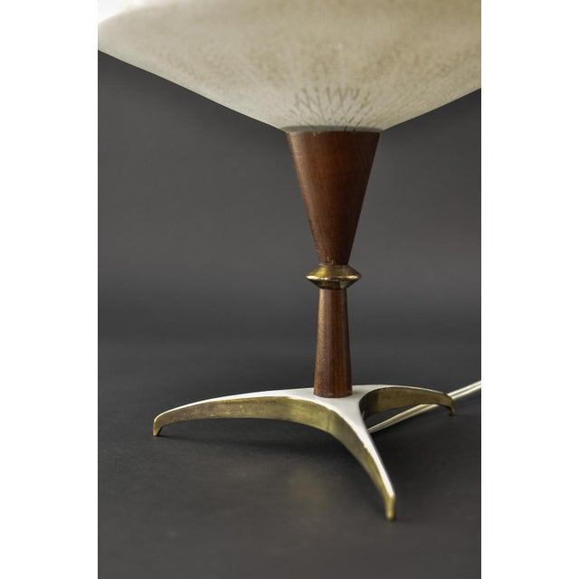 Phillips Mid-Century Design Decorative Atomic Tripod Teak Brass Glass Table Lamp by Phillips, 1950s For Sale - Image 4 of 8
