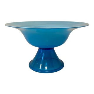 Mid-Century Modern Cased Glass Fluted Bowl For Sale