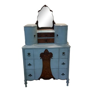 Art Nouveau Era Blue and Wood Dresser With Attached Mirror Glove Drawers Antique For Sale