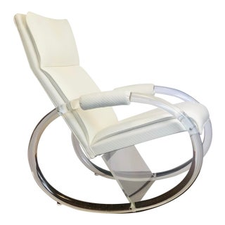 1970s Vintage Charles Hollis Jones Lucite White Rocking Chair For Sale