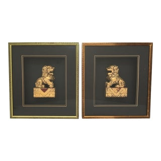 Framed Asian Chinoiserie Gold Gilt Foo Dog Sculptures - a Pair For Sale