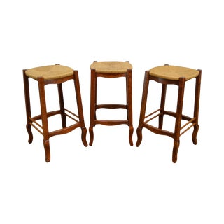 French Country Style Set of 3 Rush Seat Bar Stools For Sale