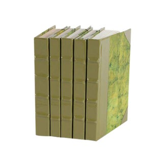 Patent Leather Army Green Books - Set of 5 For Sale