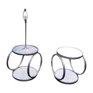 Mid-Century Steel Industrial Side Tables with Lamp For Sale