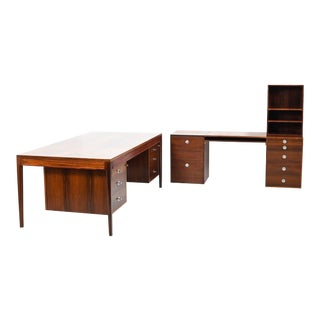 1950s Scandinavian Modern Rosewood Office Executive Desk Set - 2 Pieces For Sale